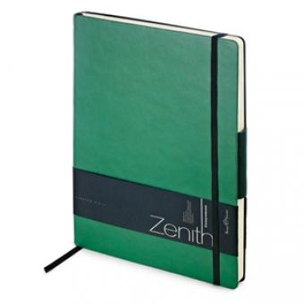 Ежедневник недатированный Zenith, зеленый, В5, бежевый блок, без обреза, ляссе, на резинке