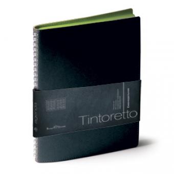 Еженедельник недатированный Tintoretto, B5, черный, белый блок, зеленый обрез