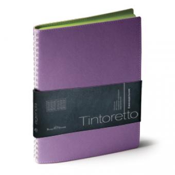 Еженедельник недатированный Tintoretto, B5, фиолетовый, белый блок, зеленый обрез