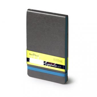 Еженедельник  датированный Megapolis Soft, А6, темно-серый, бежевый блок, без обреза, ляссе