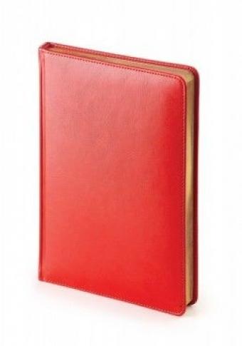Ежедневник датированный Sidney Nebraska, А5, красный, белый блок, золотой обрез, ляссе