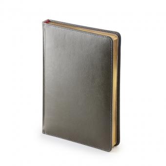 Ежедневник недатированный Sidney Nebraska, А5, серый, белый блок, золотой обрез, ляссе
