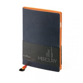 Ежедневник недатированный Mercury, А6, темно-синий, белый блок, оранжевый обрез, два ляссе