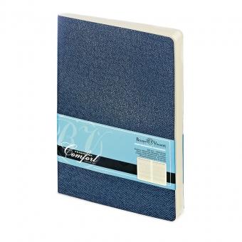 Ежедневник недатированный Comfort, А5, синий, бежевый блок, без обреза, ляссе