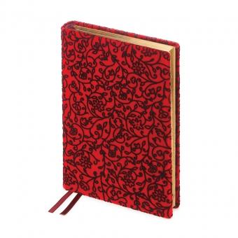 Ежедневник полудатированный Leonardo Red,  А5+, красный, золотой обрез, два ляссе