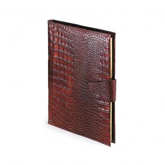 Еженедельник недатированный Amazonia, А4, бренди,  бежевый блок, золотой обрез, два ляссе