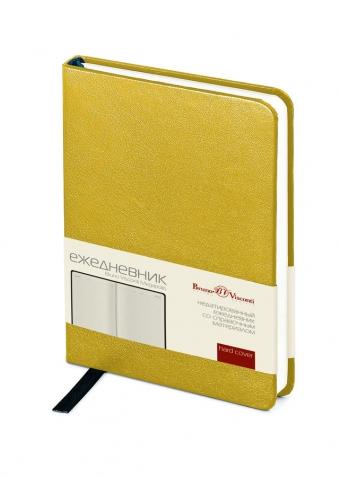 Ежедневник недатированный Megapolis, А5, золотой, бежевый блок, без обреза, ляссе