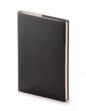 Ежедневник недатированный Glossy Pro, А5, черный, бежевый блок, без обреза
