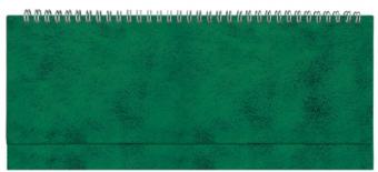 Планинг недатированный, Бумвинил, зеленый, 295х100 мм, белый блок, открытый гребень