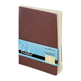 Ежедневник недатированный Comfort, А5, коричневый, бежевый блок, без обреза, ляссе