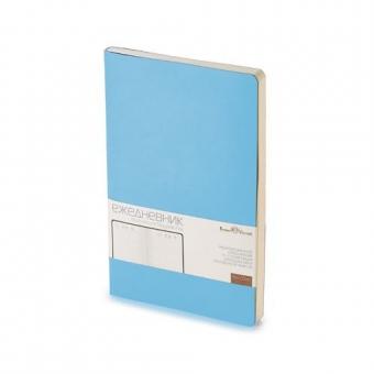 Ежедневник недатированный Megapolis Flex, А5, небесно-голубой, бежевый блок, без обреза