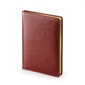 Ежедневник недатированный Sidney Nebraska, А5, бордовый, белый блок, золотой обрез, ляссе