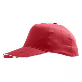 """Бейсболка """"Sunny"""" 5 клиньев, красный с белым, 100% хлопок, 180г/м2"""