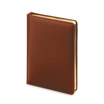 Ежедневник датированный Sidney Nebraska, А5, коричневый, белый блок, золотой обрез, ляссе