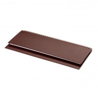 Планинг датированный Бумвинил, коричневый, 295х100 мм, белый блок, открытый гребень