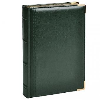 Ежедневник полудатированный Boss, зеленый, А5, белый блок, золотой обрез, ляссе, карта