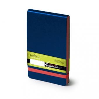 Еженедельник  датированный Megapolis Soft, А6, синий, бежевый блок, без обреза, ляссе