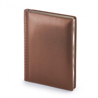 Ежедневник недатированный Image, А5, коричневый, бежевый блок, серебряный обрез, ляссе