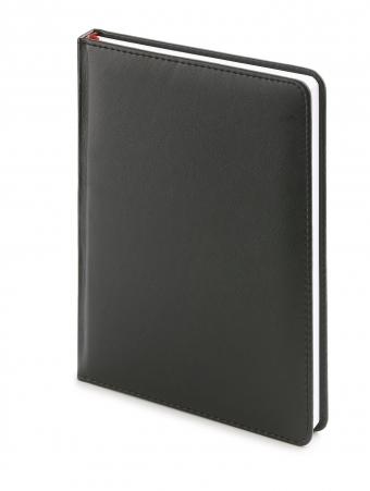 Ежедневник недатированный Leader, А6+, черный, белый блок, без обреза, ляссе