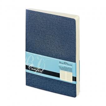 Ежедневник недатированный Comfort, А6, синий, бежевый блок, без обреза, ляссе