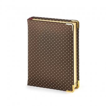Ежедневник полудатированный Fashion, А6+, бронзовый, бежевый блок, золотой обрез, два ляссе