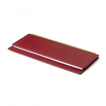 Планинг недатированный, Velvet, бордовый, 305х130 мм, белый блок, открытый гребень