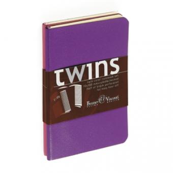 Набор блокнотов Twins (2 шт, фиолетовый+розовый), А5, бежевый блок, без обреза, ляссе, 40 листов