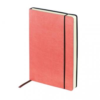 Ежедневник недатированный Vincent, А5, красный, бежевый блок, без обреза, ляссе