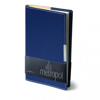 Еженедельник недатированный Metropol, А6, синий, бежевый блок, металлический шильдик, без обреза