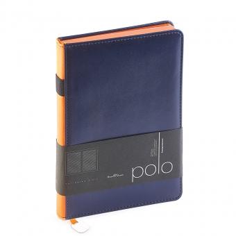 Ежедневник недатированный Polo, А5, синий, белый блок, оранжевый обрез, ляссе, шильд