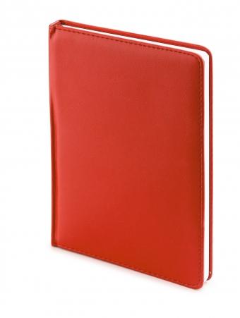 Ежедневник недатированный Leader, А6+, красный, белый блок, без обреза, ляссе
