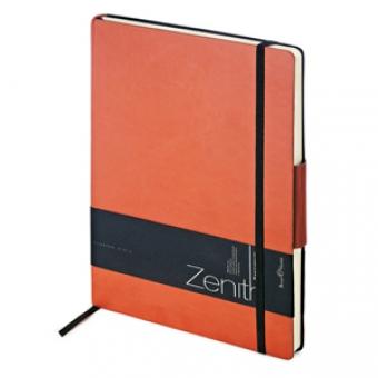 Ежедневник недатированный Zenith, оранжевый, В5, бежевый блок, без обреза, ляссе, на резинке