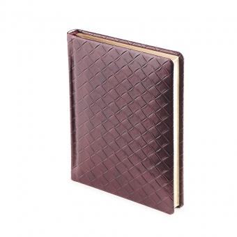 Ежедневник полудатированный Magnum, А6+, бордовый, бежевый блок, золотой обрез, два ляссе, карта