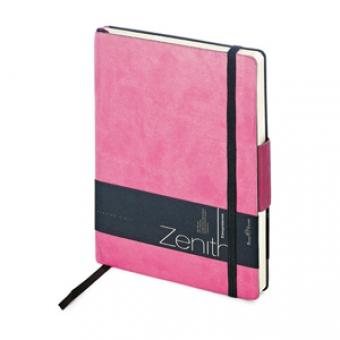 Ежедневник недатированный Zenith, розовый, В6, бежевый блок, без обреза, ляссе, на резинке