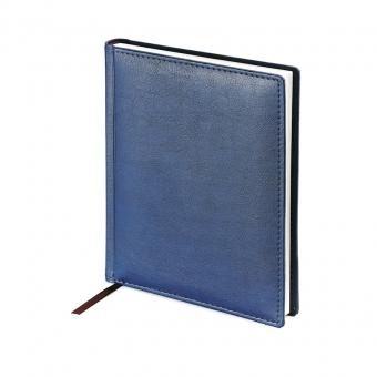 Ежедневник недатированный Velvet, А6+, синий, белый блок, без обреза, ляссе