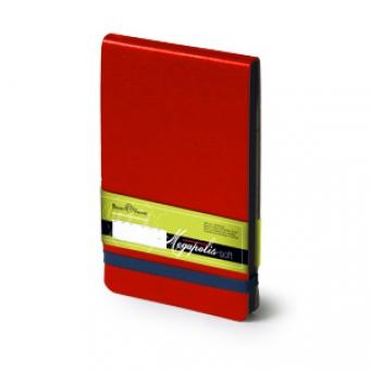 Еженедельник  датированный Megapolis Soft, А6, красный, бежевый блок, без обреза, ляссе