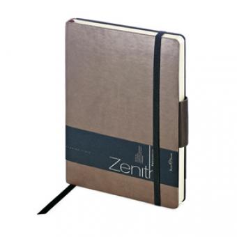 Ежедневник недатированный Zenith, коричневый, В6, бежевый блок, без обреза, ляссе, на резинке