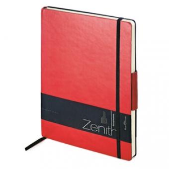Ежедневник недатированный Zenith, красный, В5, бежевый блок, без обреза, ляссе, на резинке