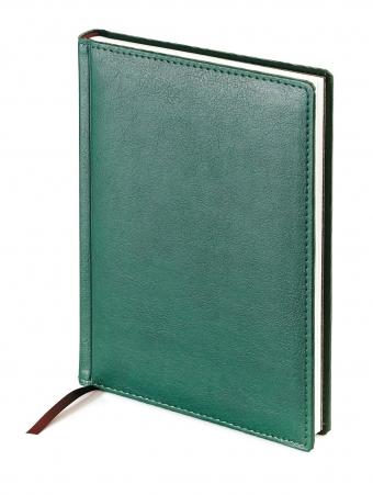 Ежедневник недатированный Leader, А6+, зеленый, белый блок, без обреза, ляссе