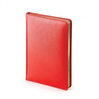 Ежедневник недатированный Sidney Nebraska, А5, красный, белый блок, золотой обрез, ляссе