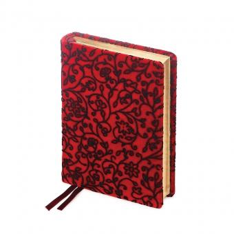 Ежедневник полудатированный Leonardo Red,  А6+, красный, золотой обрез, два ляссе
