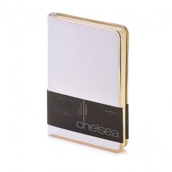 Ежедневник недатированный Chelsea, А5, белый, бежевый блок, золотой обрез, ляссе