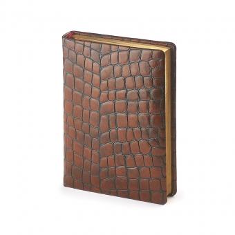 Ежедневник полудатированный York, А6+, коричневый, бежевый блок, золотой обрез, два ляссе