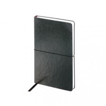 Ежедневник недатированный Status, А5, черный, белый блок, без обреза, ляссе