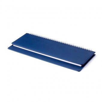 Планинг недатированный, Velvet, темно-синий, 305х130 мм, белый блок, открытый гребень
