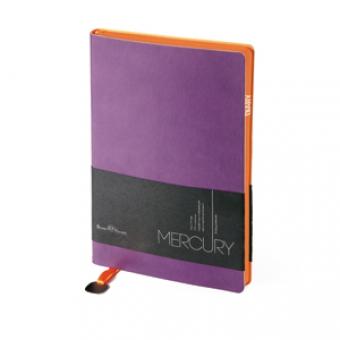 Ежедневник недатированный Mercury, А6, фиолетовый, белый блок, оранжевый обрез, два ляссе