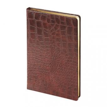 Ежедневник недатированный City Croco, коричневый, А5, бежевый блок, золотой обрез, ляссе