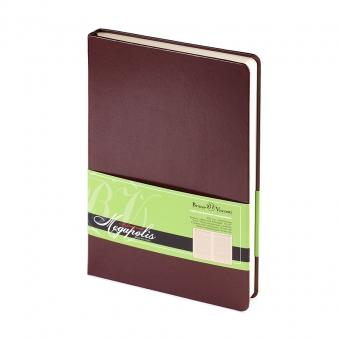 Ежедневник недатированный Megapolis, А5, коричневый, бежевый блок, без обреза, ляссе