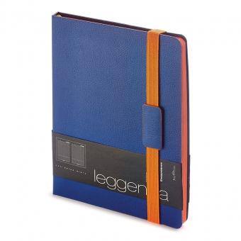 Ежедневник недатированный Leggenda, B5, темно-синий, бежевый блок, оранжевый обрез, ляссе