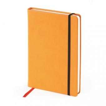 Ежедневник недатированный Megapolis Velvet, А5, оранжевый, бежевый блок, без обреза, ляссе
